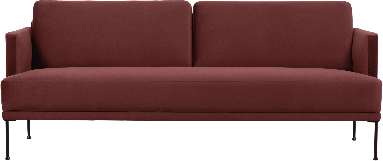 Samt-Sofa Fluente (3-Sitzer), Bezug: Samt (Hochwertiger Polyes, Gestell: Massives Kiefernholz, Füße: Metall, pulverbeschichtet, Samt Rostrot, B 196 x T 85 cm