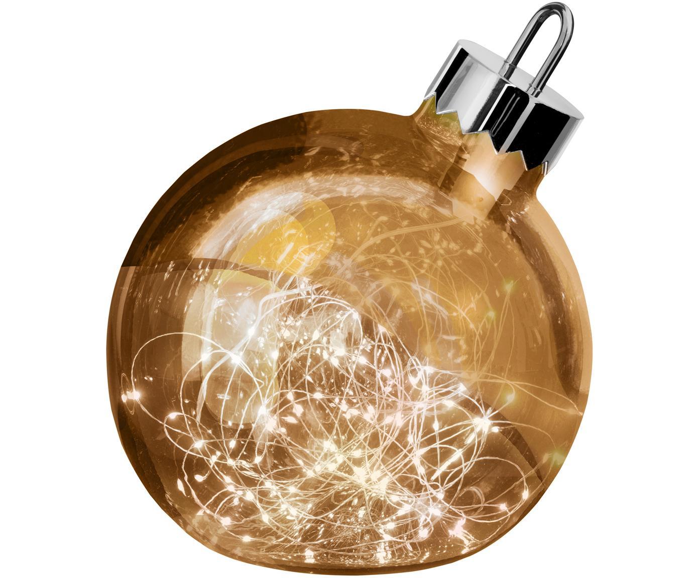Palla di Natale grande in vetro con luci LED Aggia, Ottonato, Ø 20 x Alt. 22 cm