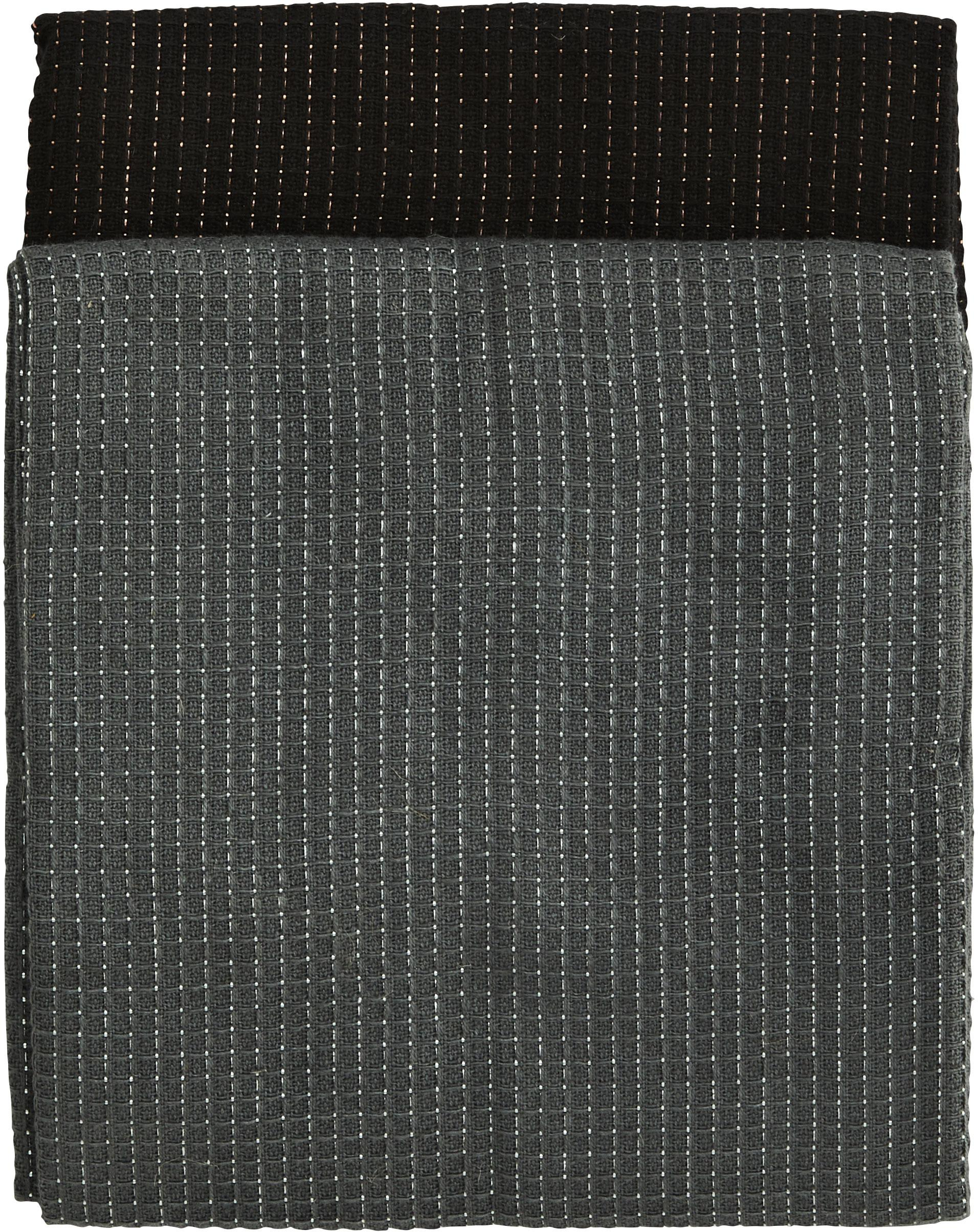 Komplet ręczników kuchennych Waffelpiqué, 4 elem., 100% bawełna, nić lureksowa, Ciemnyszary, czarny, S 50 x D 70 cm
