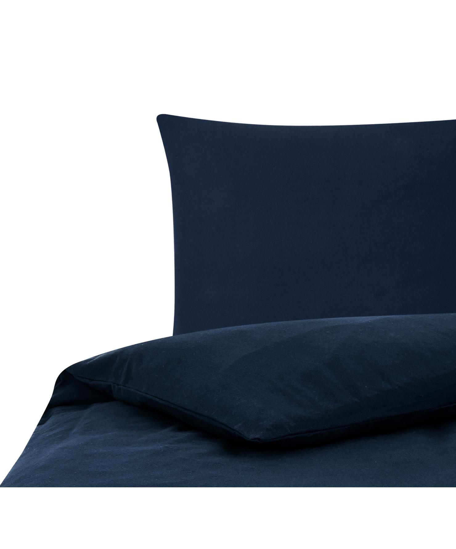 Flanell-Bettwäsche Biba in Navyblau, Webart: Flanell Flanell ist ein s, Navyblau, 135 x 200 cm + 1 Kissen 80 x 80 cm