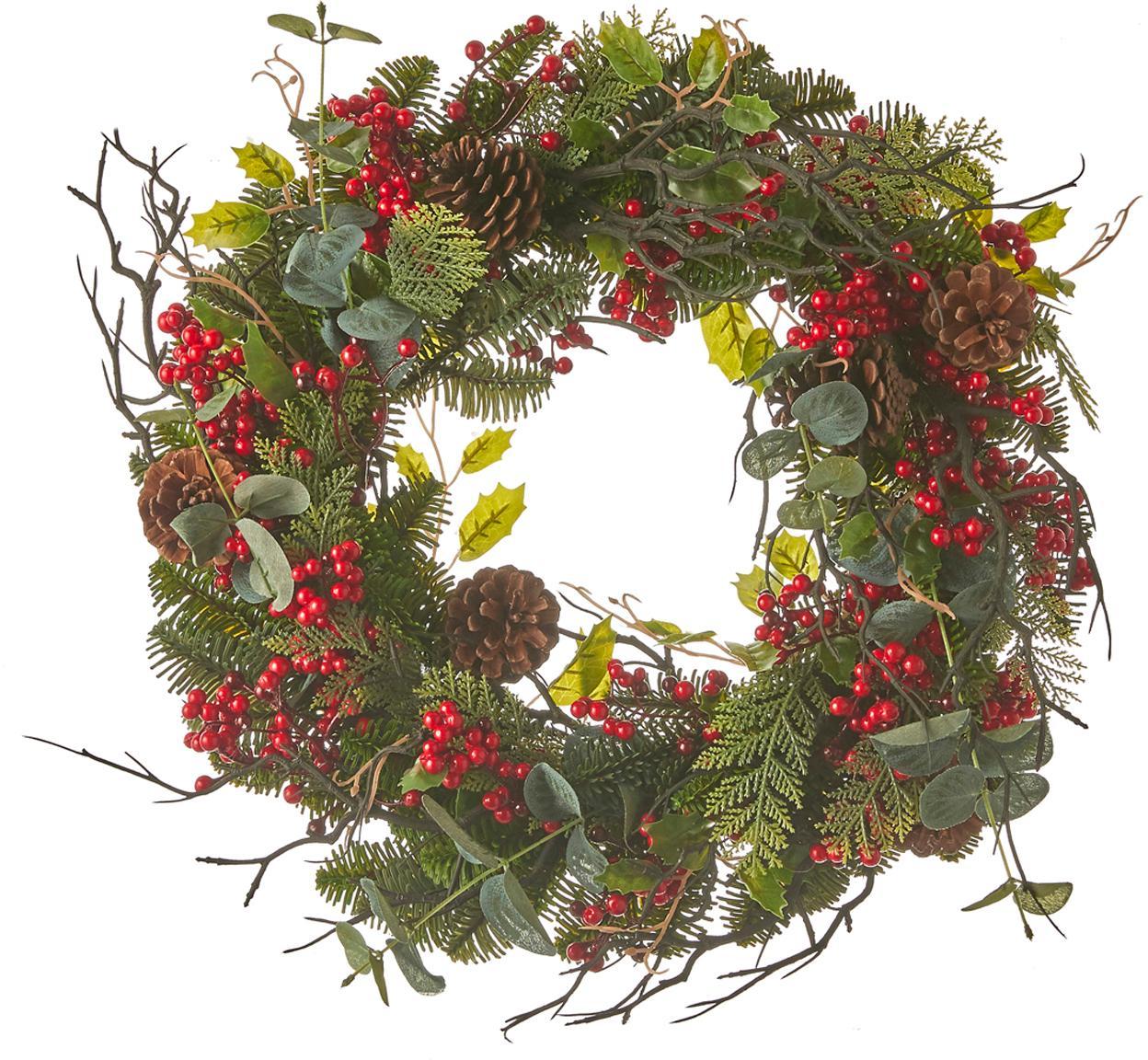 Künstlicher Weihnachtskranz Addy, Kunststoff (PVC), Grün, Rot, Ø 50 x H 10 cm
