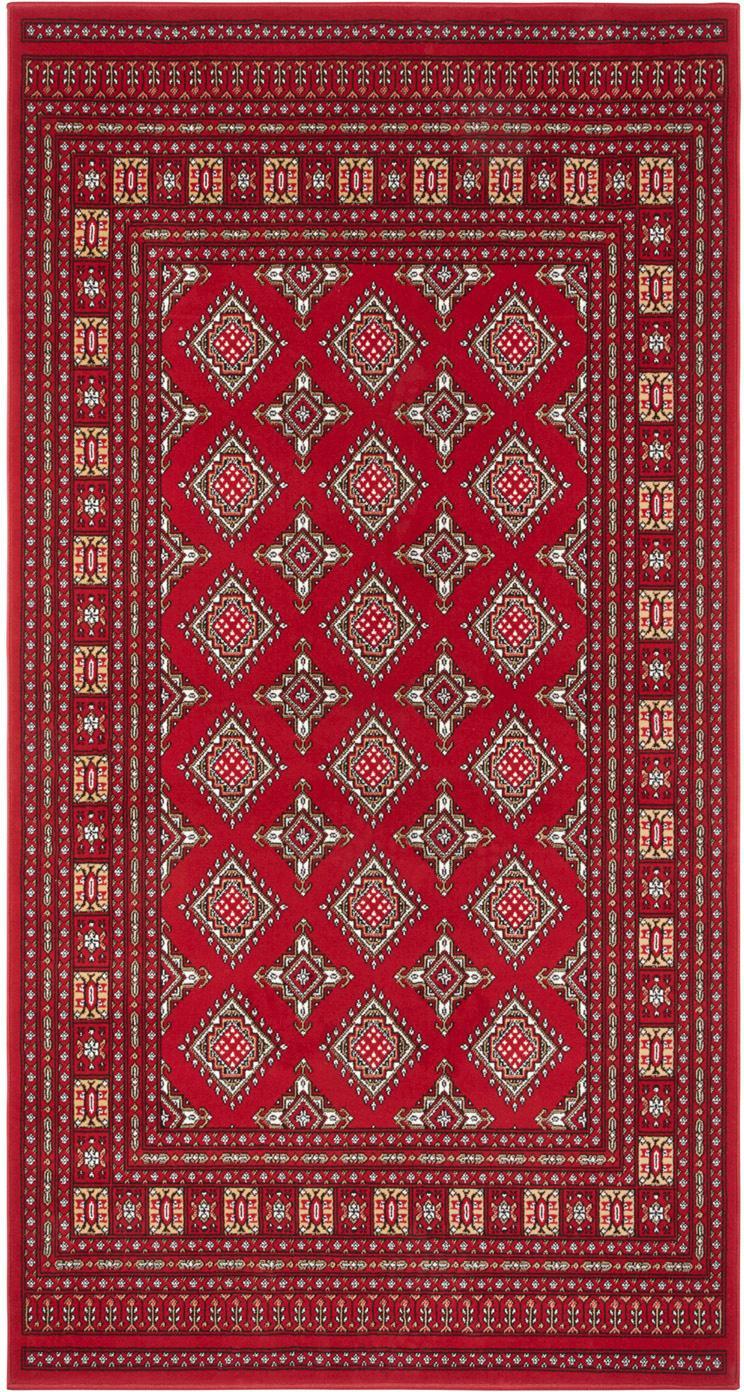 Loper Sao Buchara, Bovenzijde: 100% polypropyleen, Onderzijde: jute, Rood, B 80 x L 150 cm (maat XS)