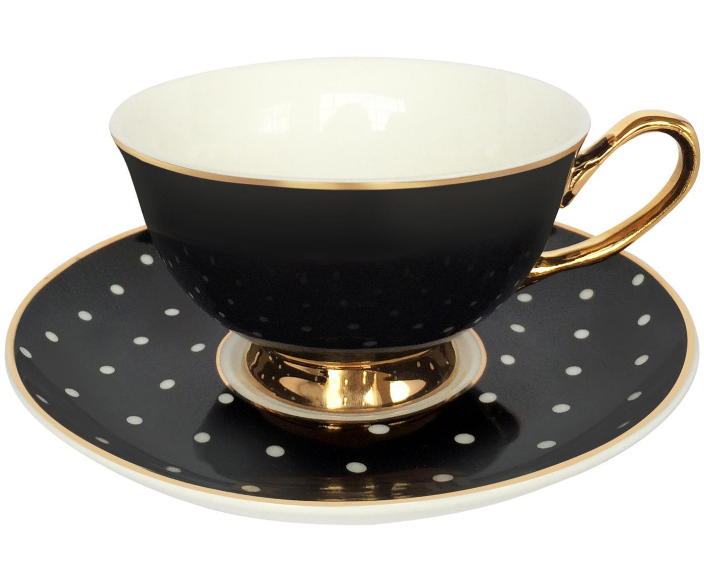 Teetasse mit Untertasse Spotty mit Goldelementen und Punkten, Bone China, vergoldet, Schwarz, Weiss<br>Rand und Henkel: Gold, Ø 15 x H 6 cm
