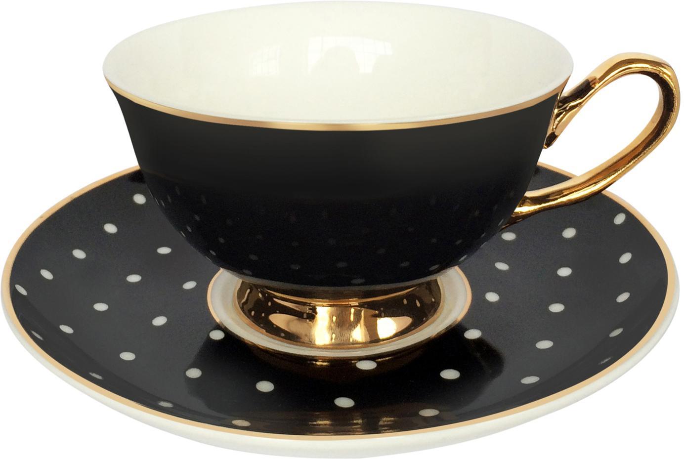 Taza de té con platillo Spotty, Porcelana fina, dorada, Negro, blanco Borde y asa: oro, Ø 15 x Al 6 cm