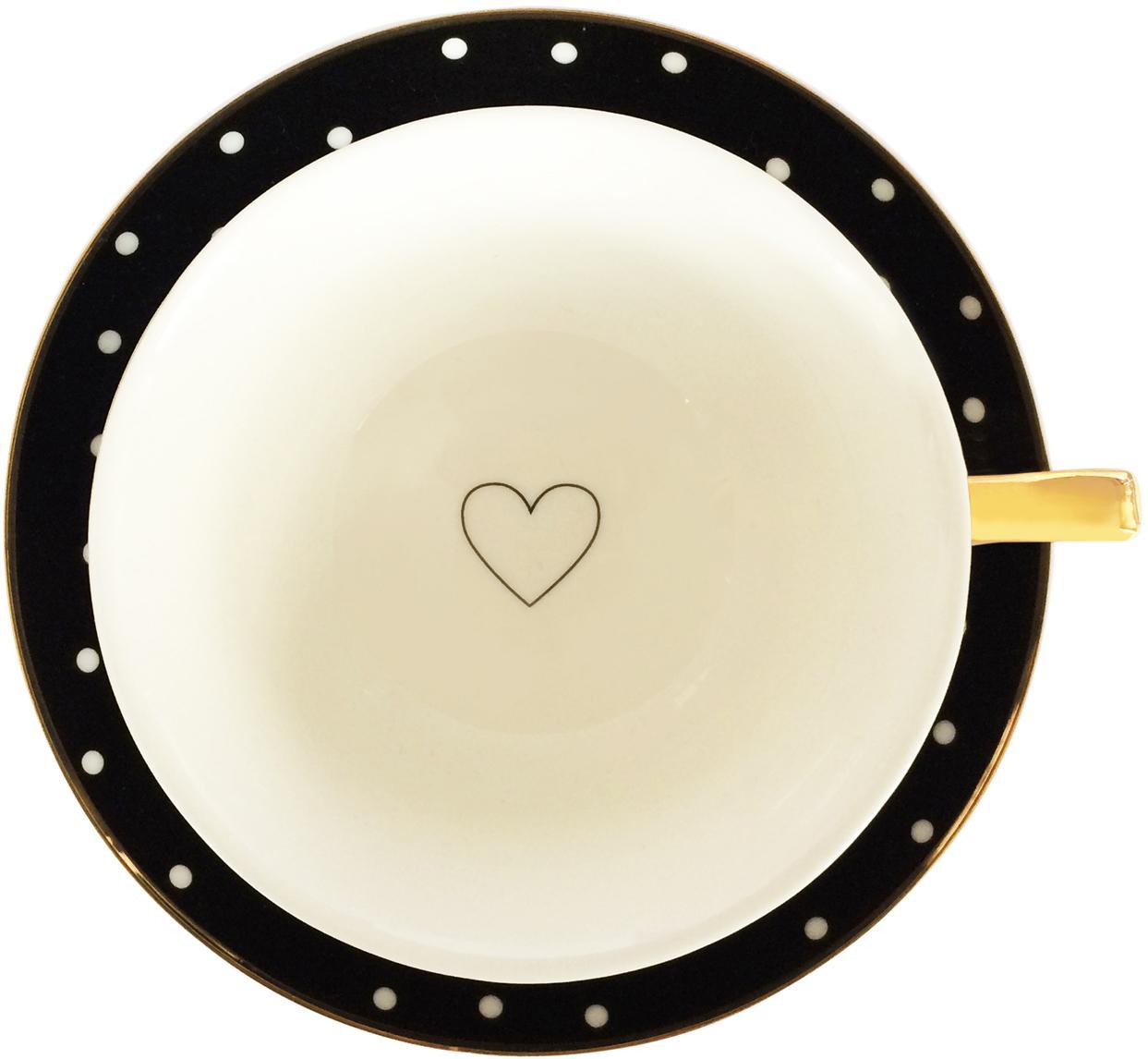 Tazza da tè Spotty, 2 pz., Porcellana cinese dorata, Nero, bianco Bordo e manico: dorato, Ø 15 x Alt. 6 cm