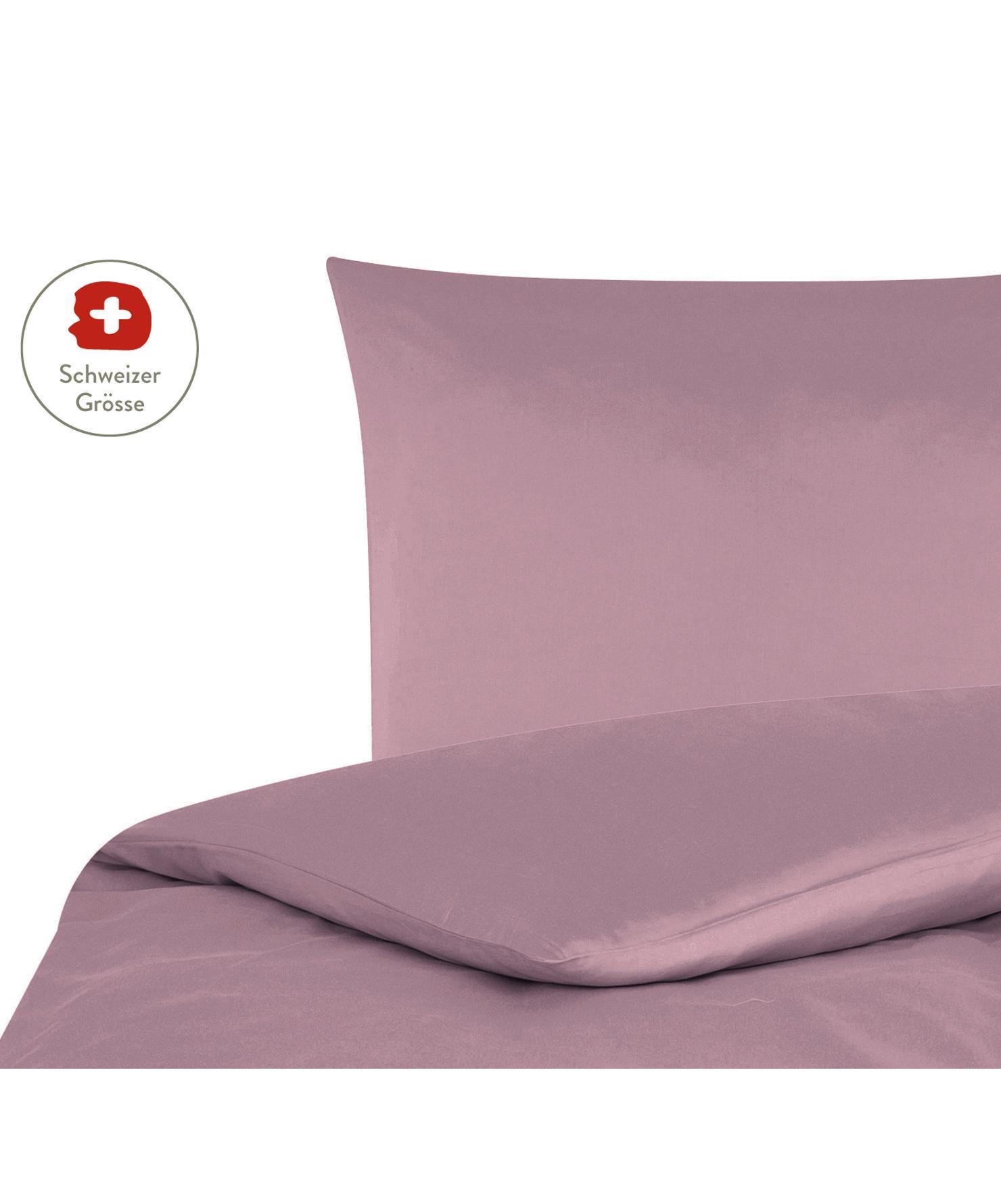 Baumwollsatin-Bettdeckenbezug Comfort in Mauve, Webart: Satin, leicht glänzend Fa, Mauve, 160 x 210 cm
