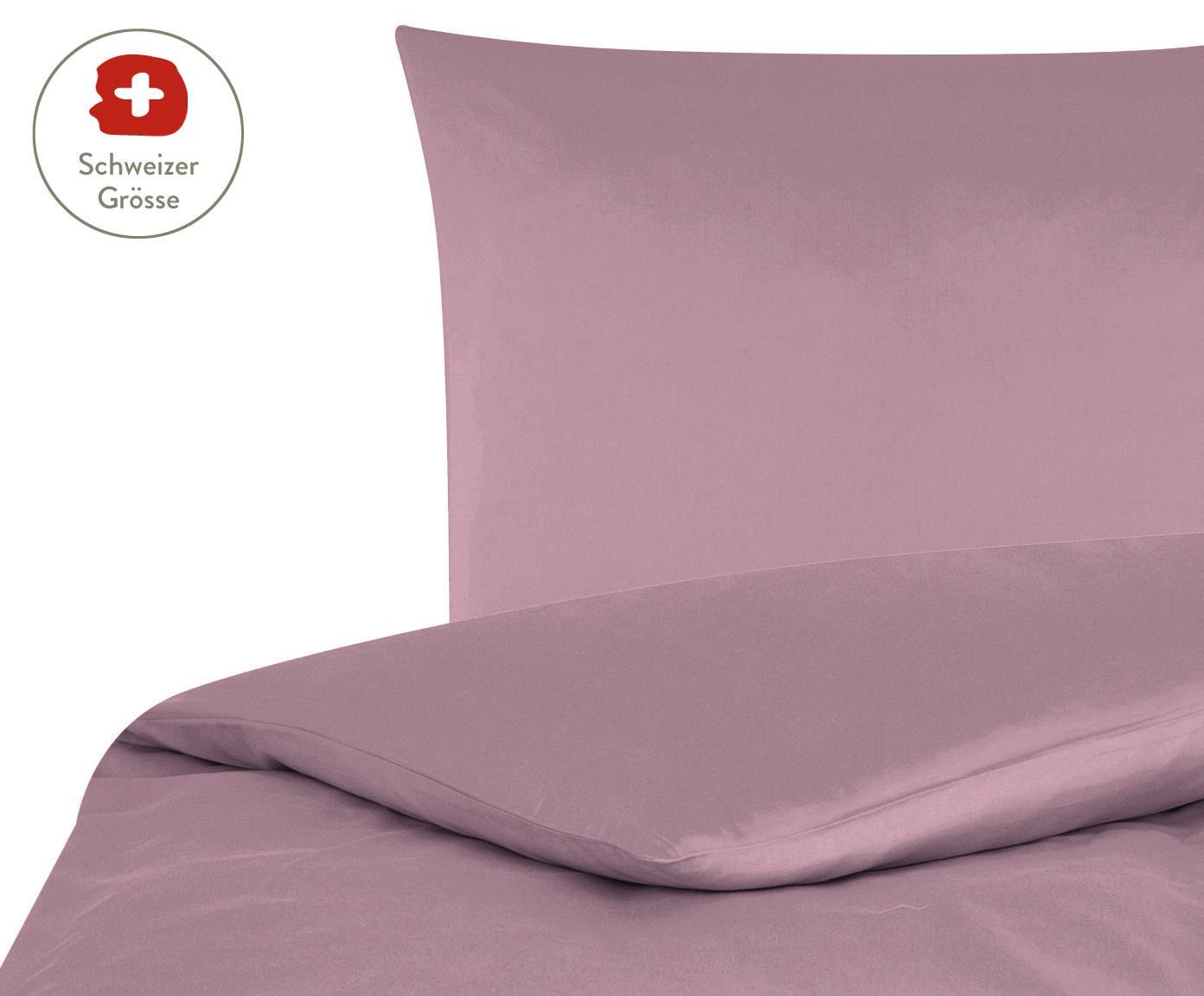 Baumwollsatin-Bettdeckenbezug Comfort in Mauve, Webart: Satin, leicht glänzend, Mauve, 160 x 210 cm