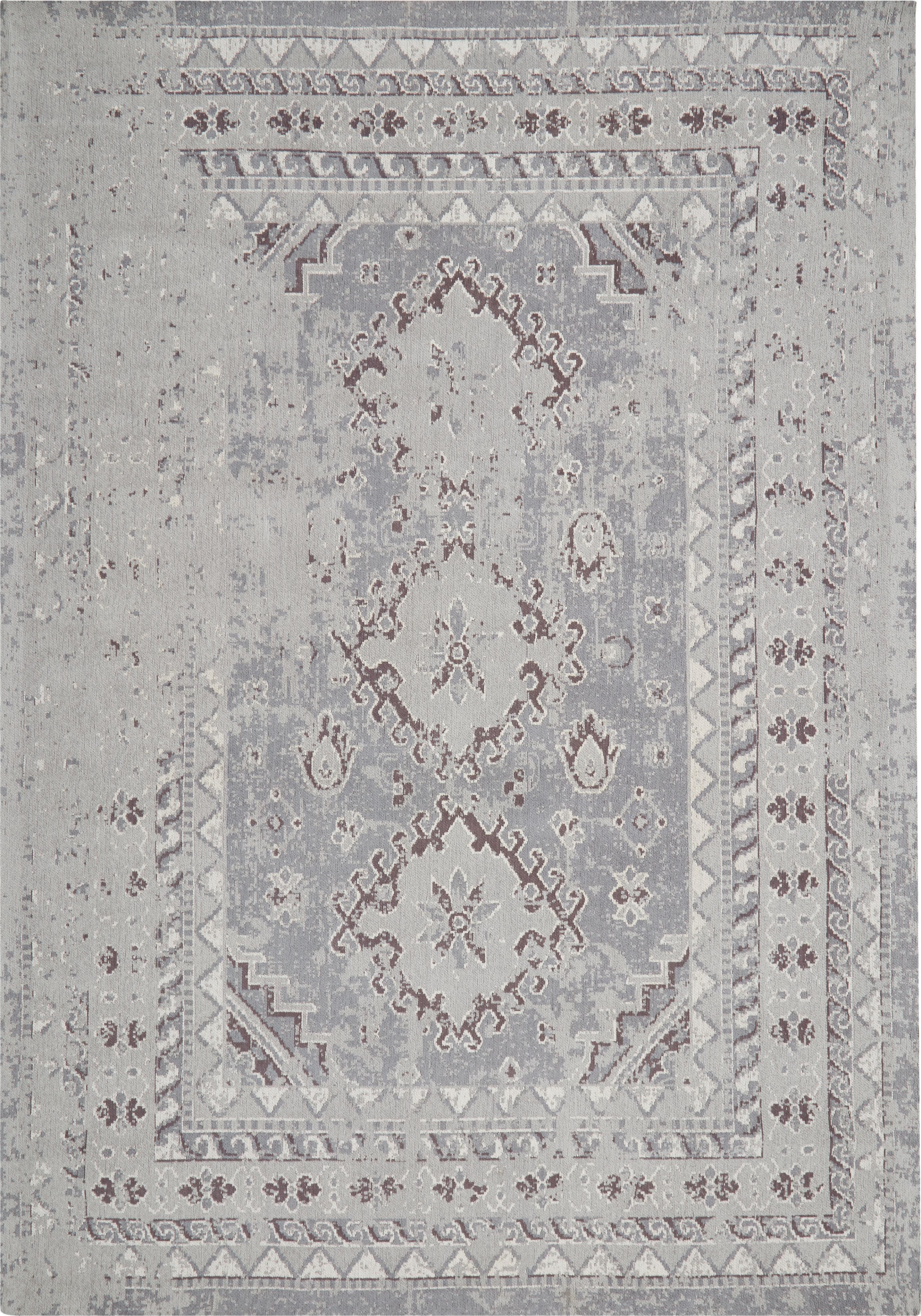 Vintage Chenilleteppich Rebel in Grau, Flor: 95% Baumwolle, 5% Polyest, Hellgrau, Creme, B 160 x L 230 cm (Größe M)