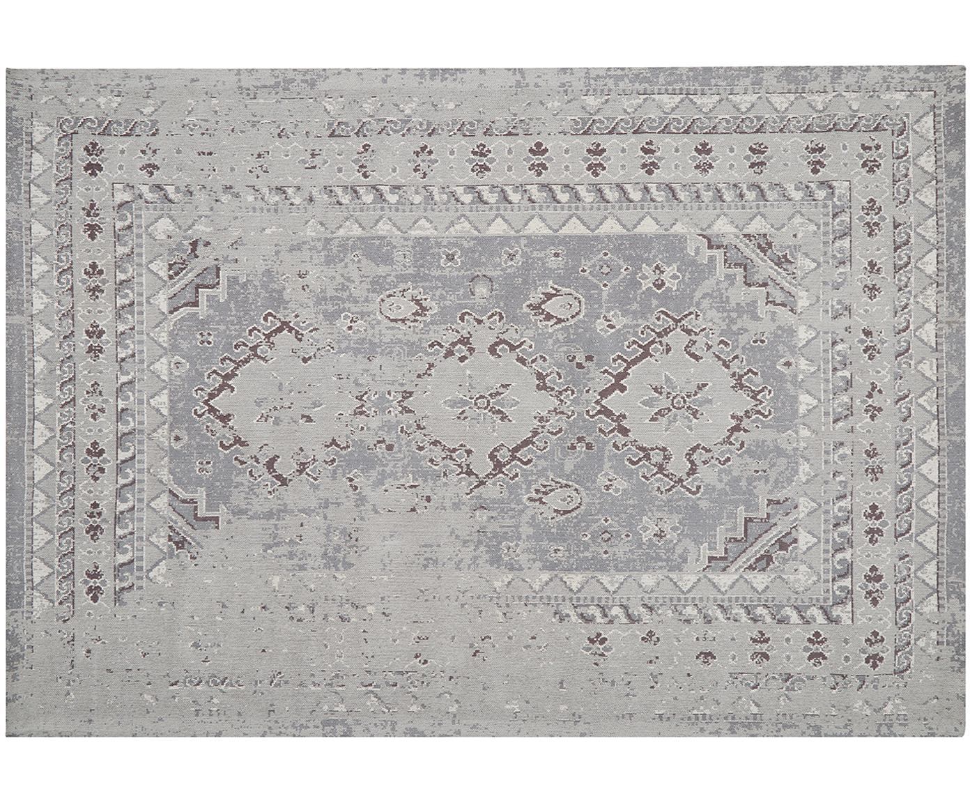 Alfombra artesanal de chenilla Rebel, estilo vintage, Parte superior: 95%algodón, 5%poliéster, Reverso: algodón, Gris claro, crema, An 160 x L 230 cm (Tamaño M)