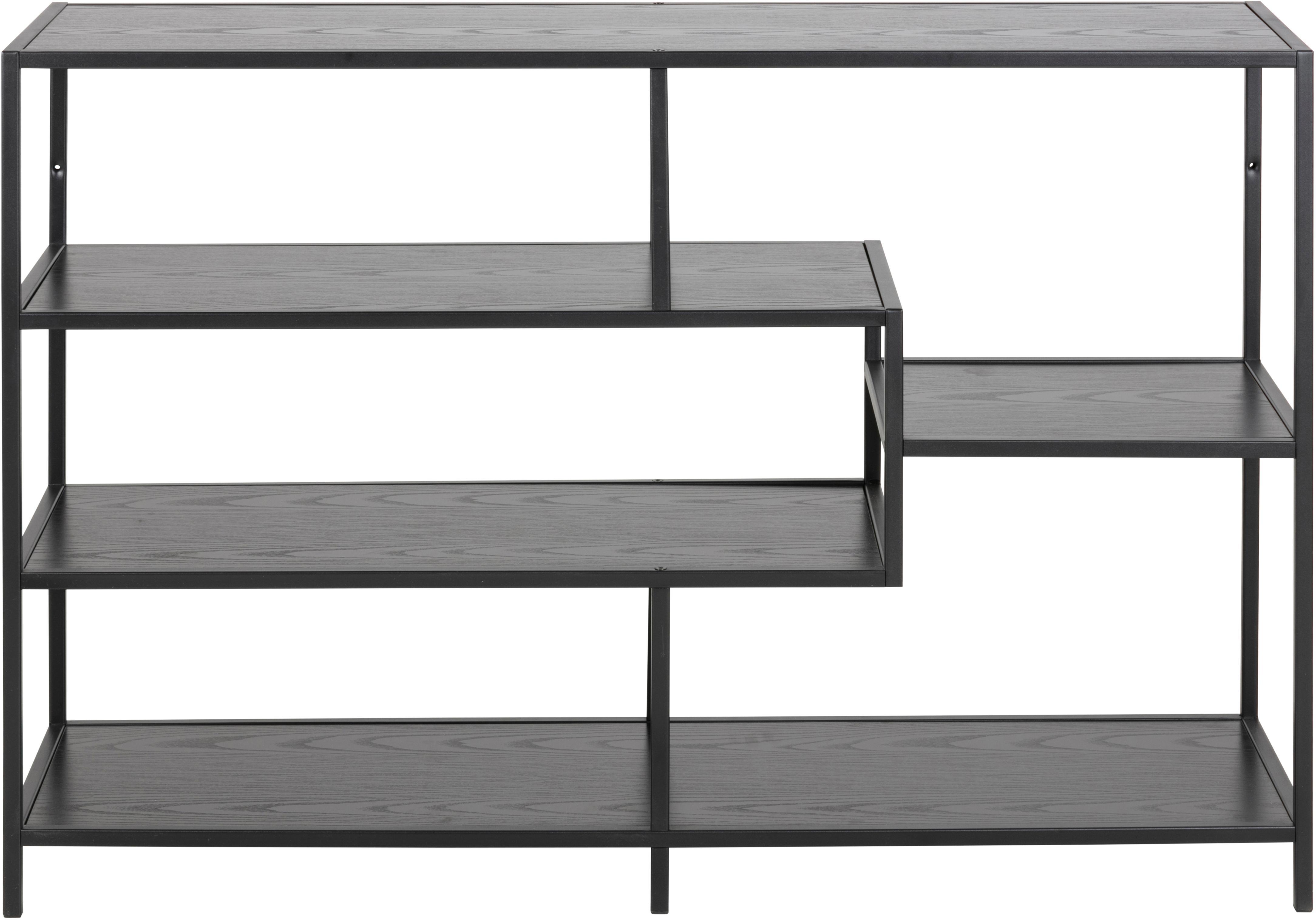 Standregal Seaford Zig aus Holz und Metall, Einlegeböden: Mitteldichte Holzfaserpla, Gestell: Metall, pulverbeschichtet, Schwarz, 114 x 78 cm