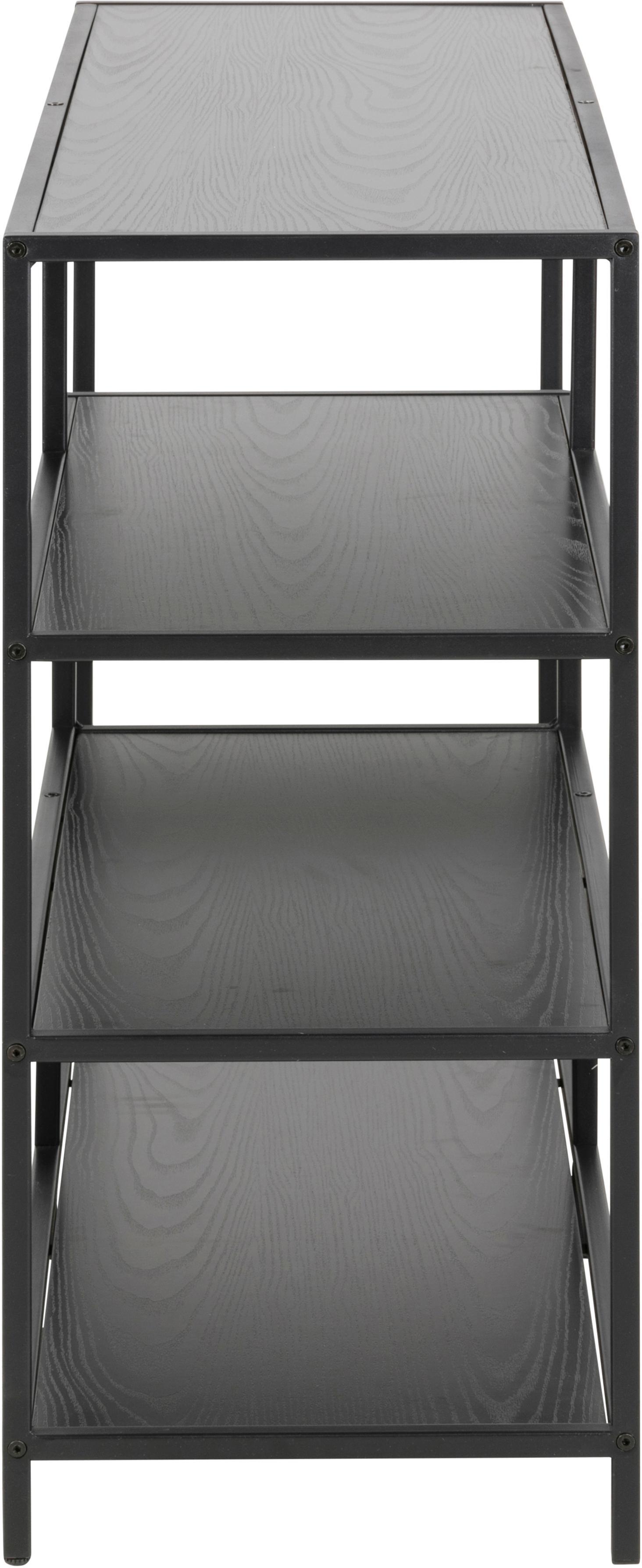 Estantería pequeña Seaford Zig, Estantes: tablero de fibras de dens, Estructura: metal, pintura en polvo, Negro, An 114 x Al 78 cm