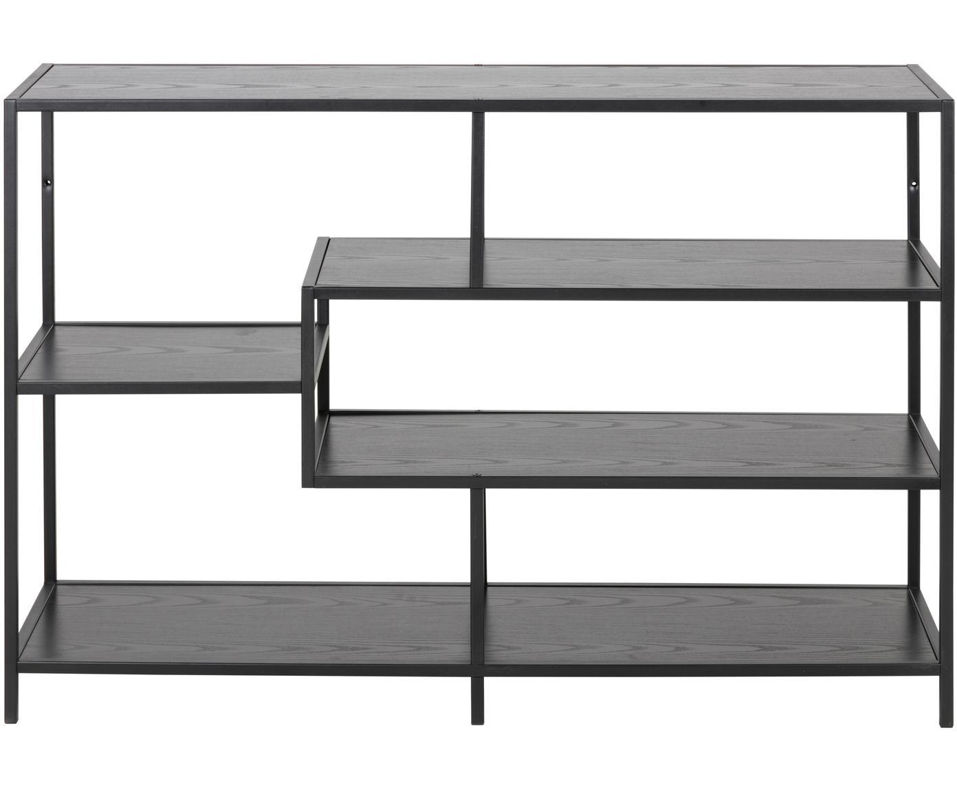 Regał z drewna i metalu Seaford Zig, Stelaż: metal malowany proszkowo, Czarny, S 114 x W 78 cm
