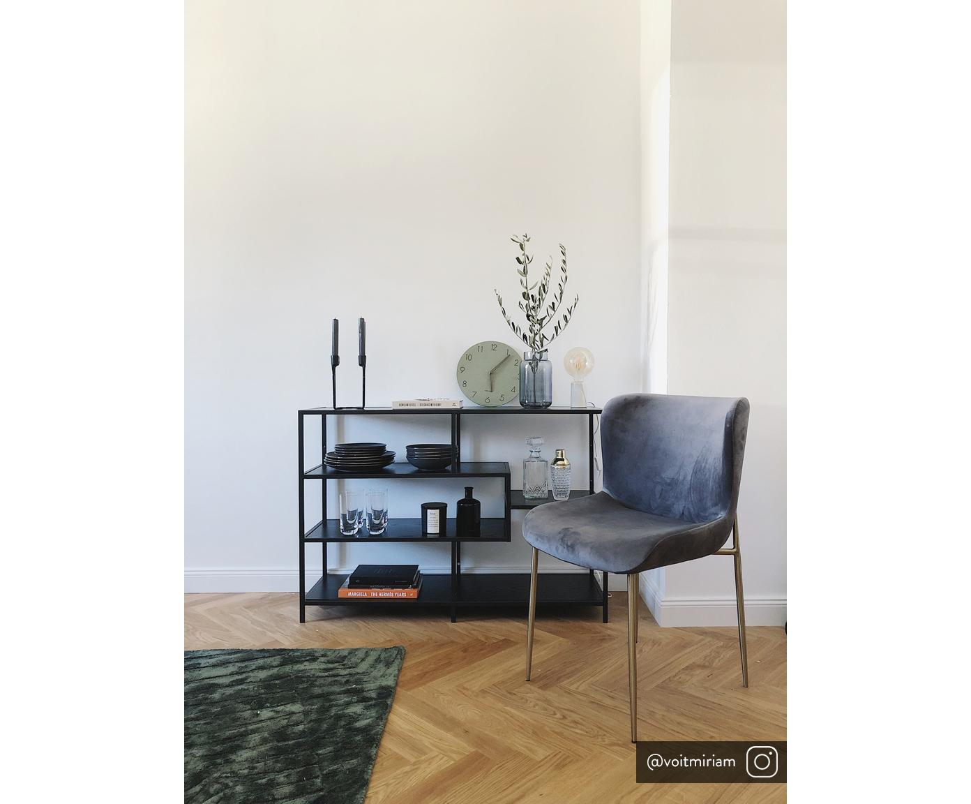 Libreria in legno e metallo Seaford Zig, Ripiani: pannello di fibra a media, Struttura: metallo verniciato a polv, Nero, Larg. 114 x Alt. 78 cm