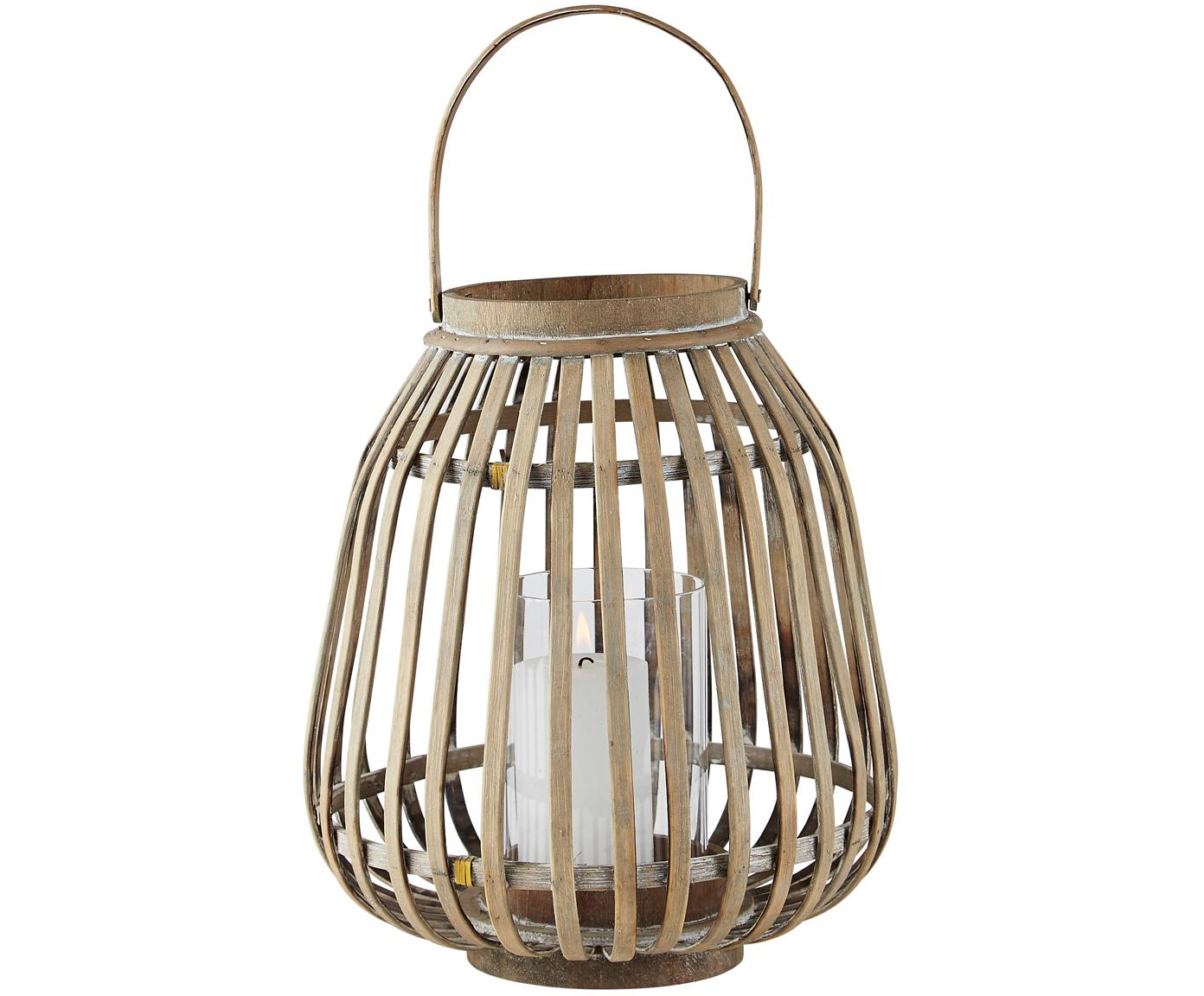 Laterne Alma, Gestell: Bambus, Windlicht: Glas, Gestell: Bambus<br>Windlicht: Transparent, Ø 25 x H 30 cm