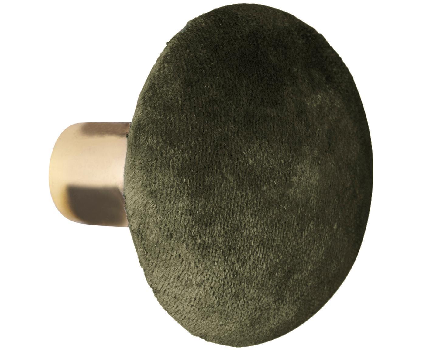 Hak ścienny z aksamitu Helene, Odcienie mosiądzu, oliwkowy zielony, Ø 8 x G 6 cm