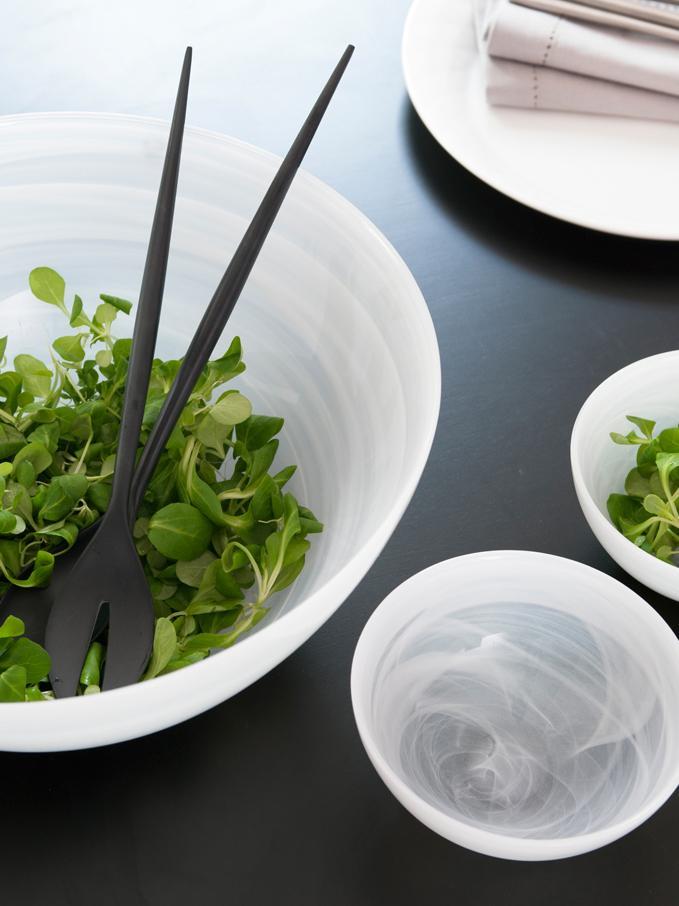 Schwarzes Salatbesteck Krenit aus Melamin,  2er-Set, Melamin, Schwarz, L 30 cm