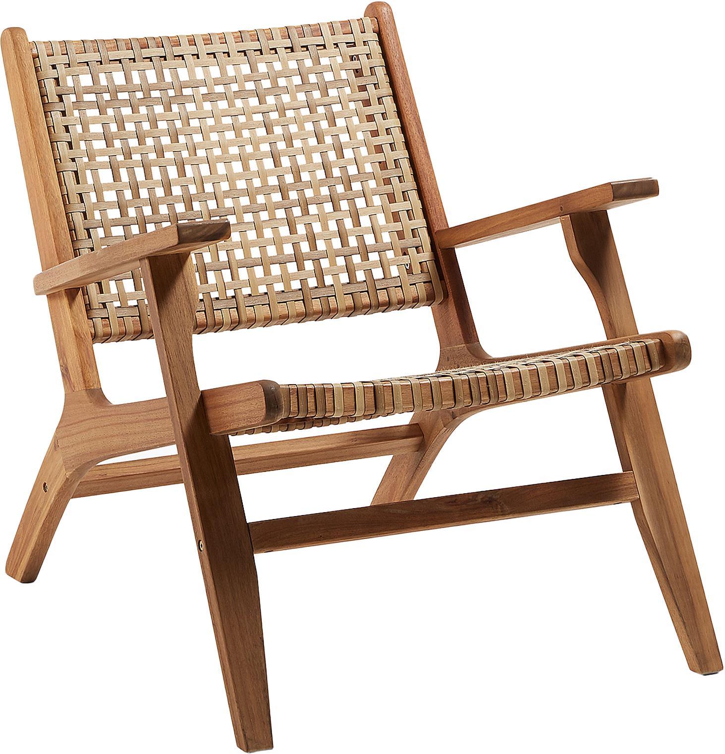 Fotel wypoczynkowy z rattanu Noon, Stelaż: lite drewno akacjowe, Drewno akacjowe, beżowy, S 68 x G 80 cm