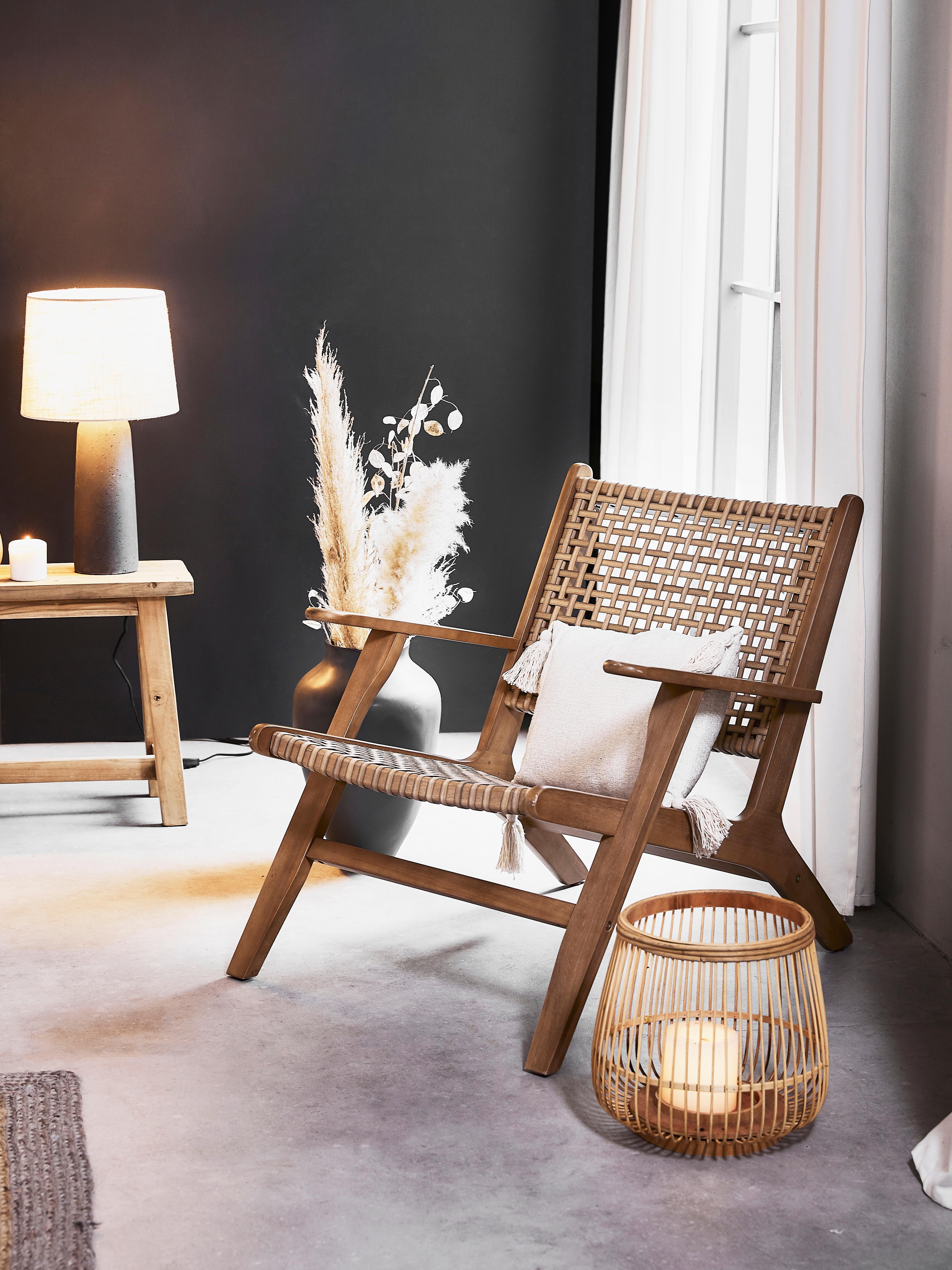 Fauteuil lounge en cannage Grignoon, Bois d'acacia, beige