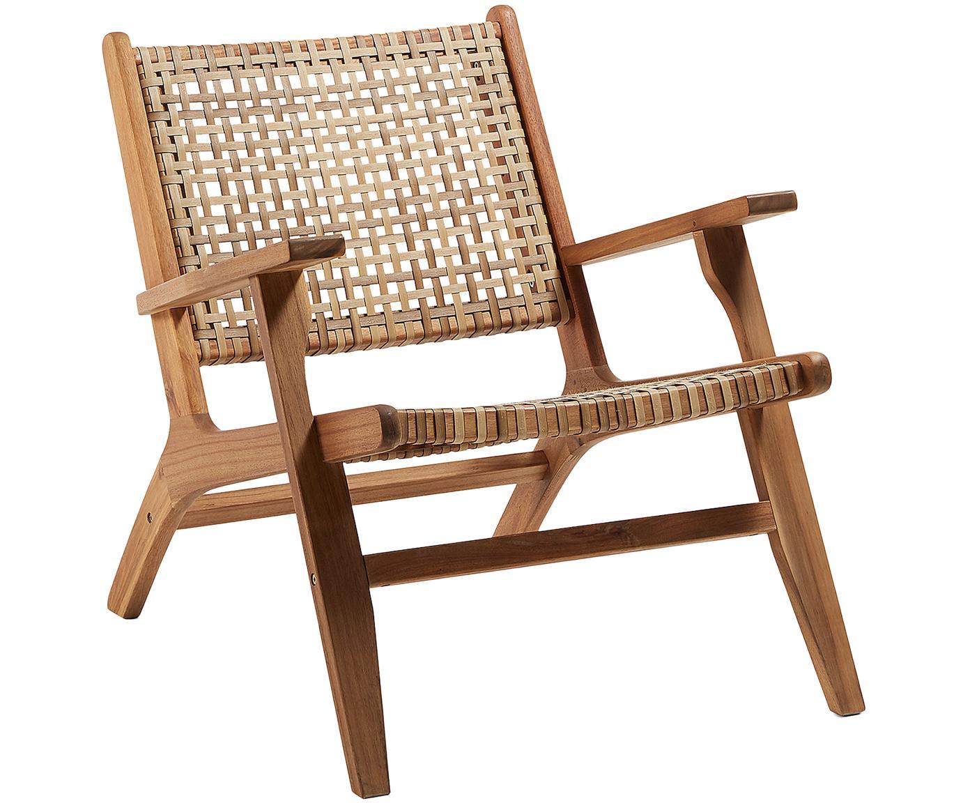 Loungefauteuil Grignoon met rotan vlechtwerk, Frame: massief acaciahout, Acaciahoutkleurig, beige, B 68 x D 80 cm