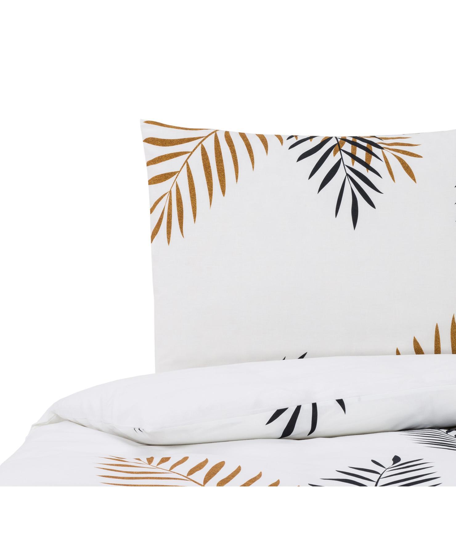 Dubbelzijdig beddengoed Foliage, Katoen, Zwart, okergeel, wit, 140 x 200 cm