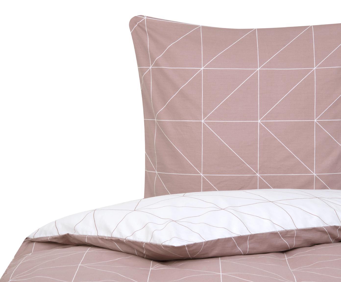 Parure copripiumino reversibile in cotone ranforce Marla, Tessuto: Renforcé, Malva, bianco, 155 x 200 cm