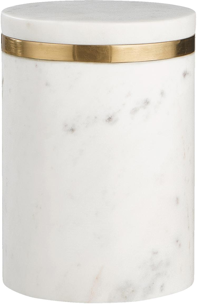 Marmor-Aufbewahrungsdose Maniu, Marmor, Weiss, Ø 12 x H 16 cm