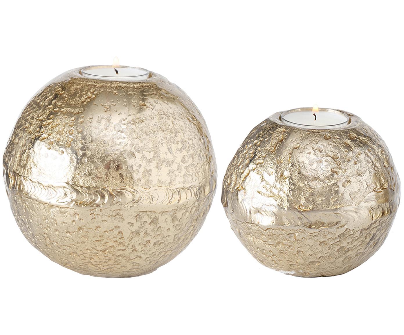 Waxinelichthoudersset Fusine, 2-delig, Gecoat aluminium, Goudkleurig, Verschillende formaten