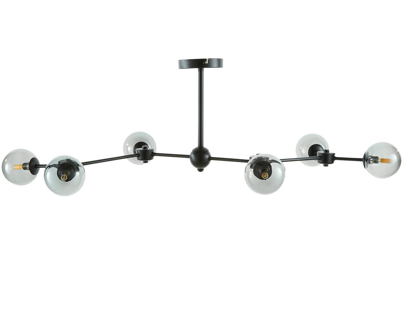 Lampada da soffitto in nero Aurelia, Paralume: vetro, Nero, grigio, Ø 110 x Alt. 32 cm