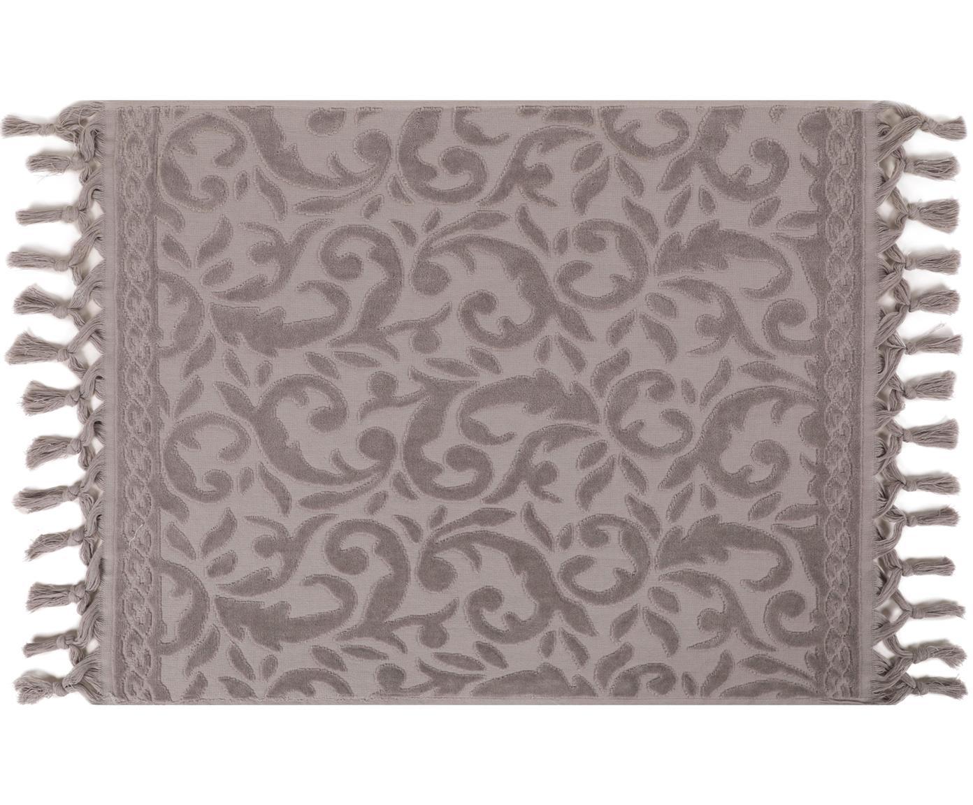 Tappeto bagno con motivo paisley in velluto Caroline, Cotone, Grigio chiaro, Larg. 50 x Lung. 70 cm