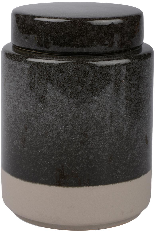 Aufbewahrungsdose Grego, Keramik, Dunkelgrau, Beige, Ø 9 x H 13 cm