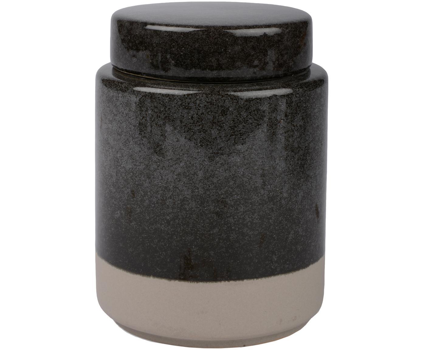 Opbergpot Grego, Keramiek, Donkergrijs, beige, Ø 9 cm