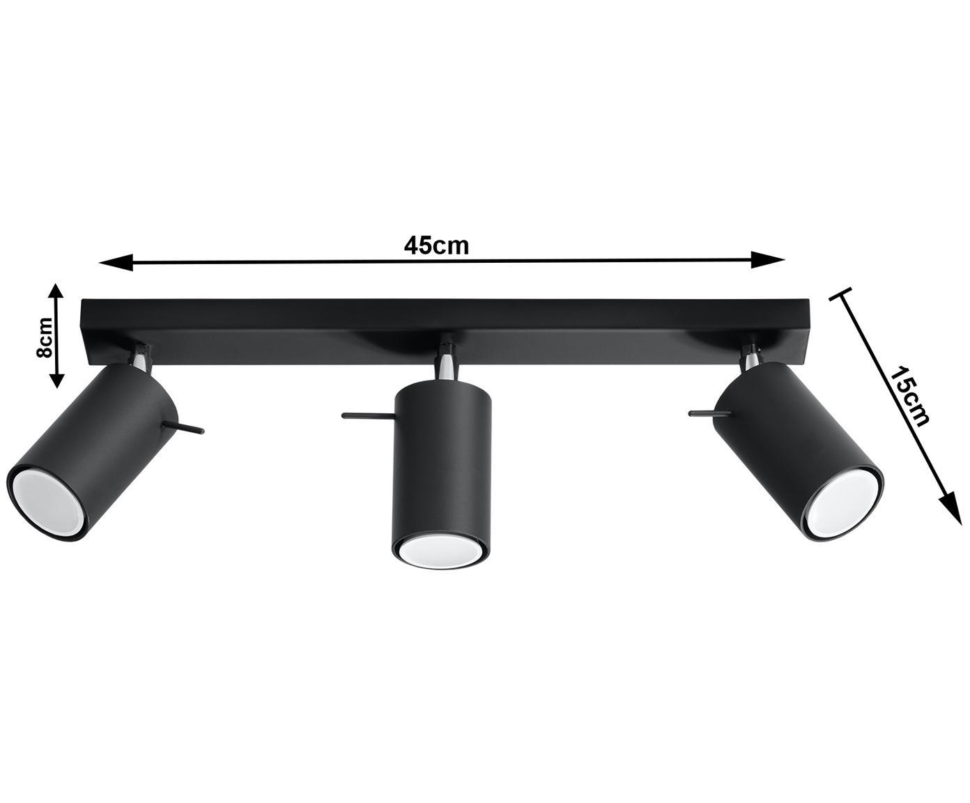 Deckenstrahler Etna in Schwarz, Stahl, lackiert, Schwarz, 45 x 15 cm