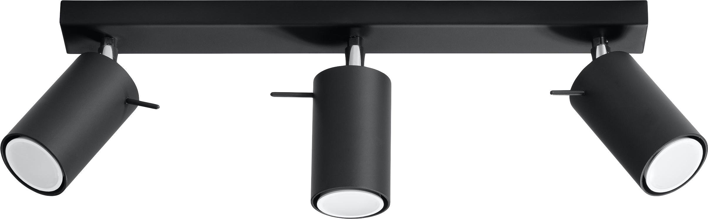 Lampa sufitowa Etna, Stal lakierowana, Czarny, S 45 x W 15 cm
