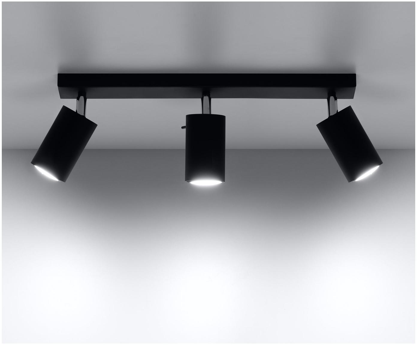 Faretti da soffitto neri Etna, Acciaio verniciato, Nero, Larg. 45 x Alt. 15 cm
