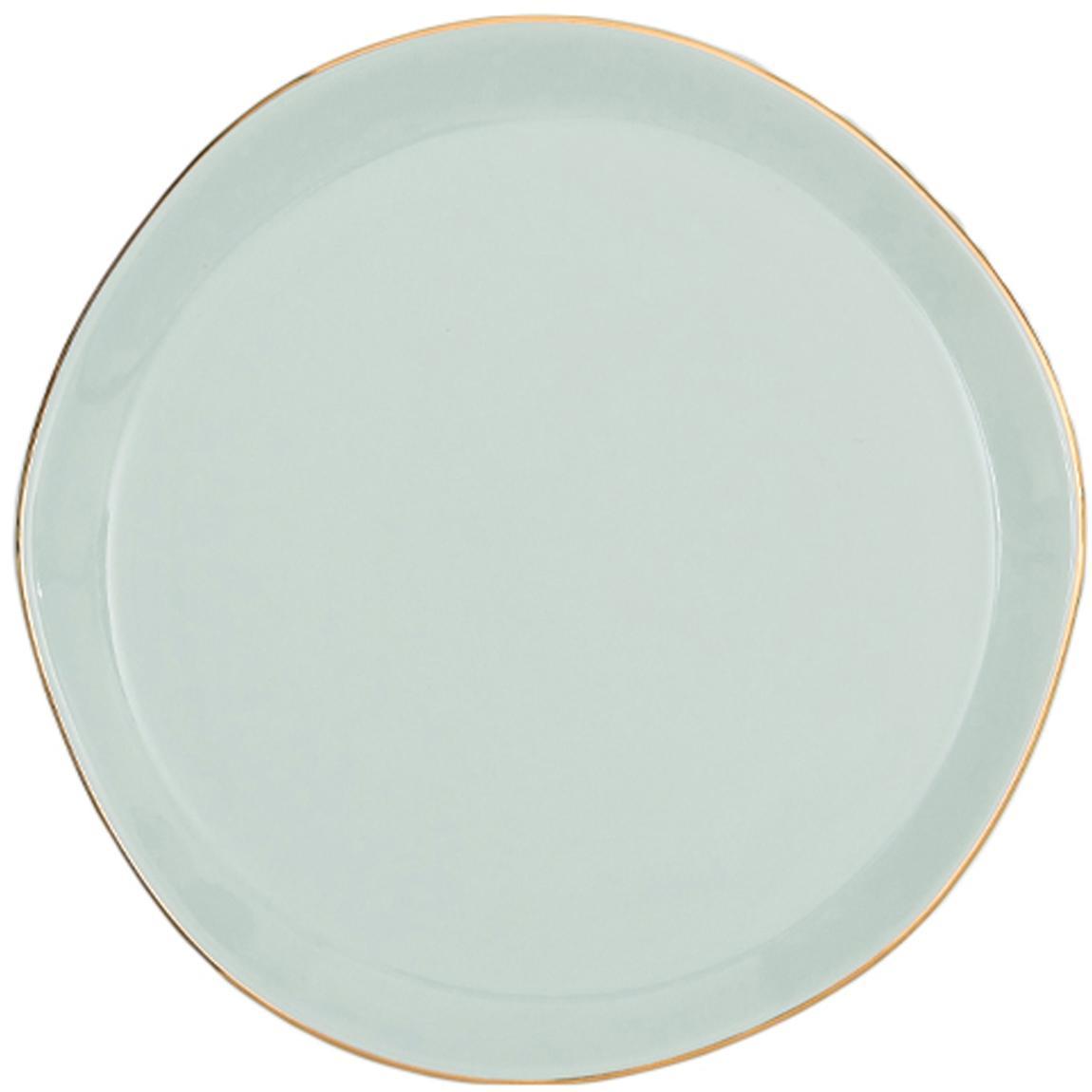 Talerz na pieczywo Good Morning, Porcelana, Miętowy, odcienie złotego, Ø 17 cm