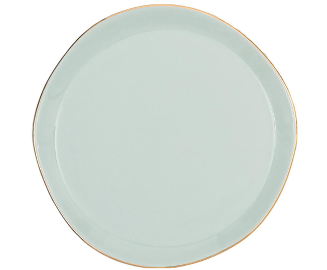 Piatto da colazione con bordo dorato Good Morning, Porcellana, Verde menta, dorato, Ø 17 cm