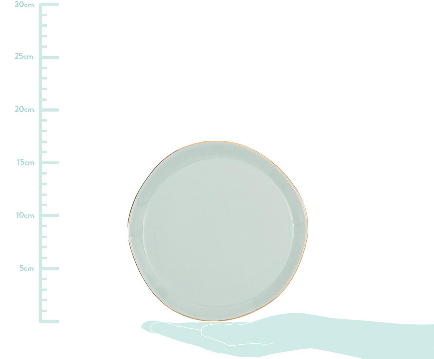 Ontbijtbord Good Morning, Porselein, Mint, goudkleurig, Ø 17 cm
