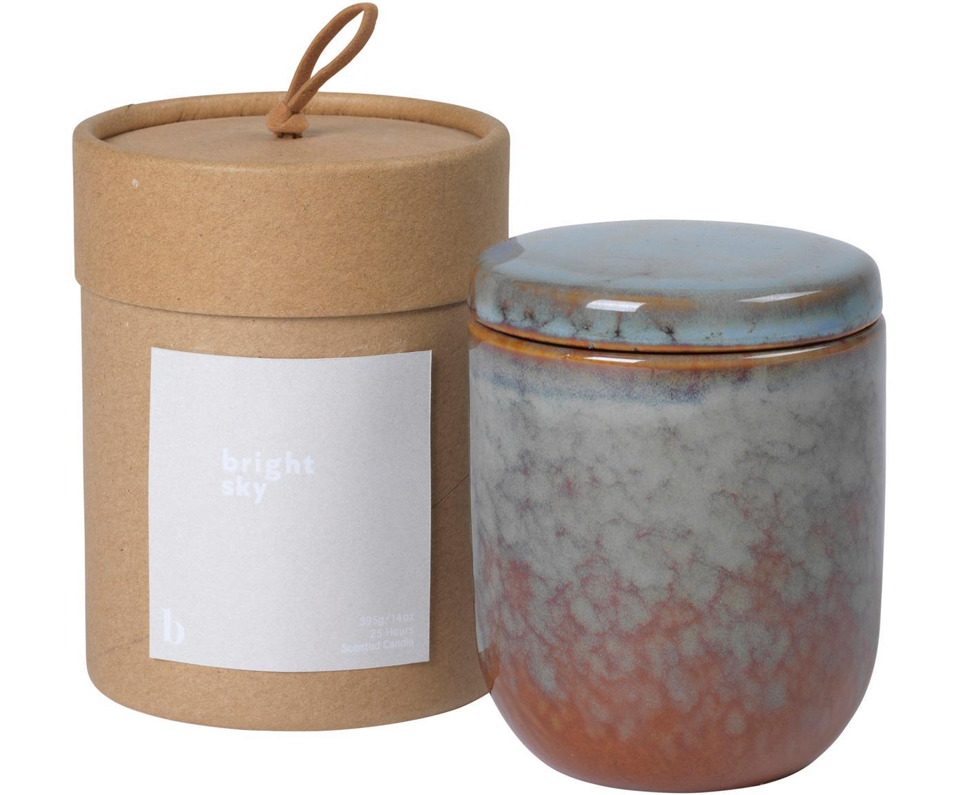 Duftkerze Bright Sky, Behälter: Keramik, Braun, Blau, Ø 8 x H 9 cm