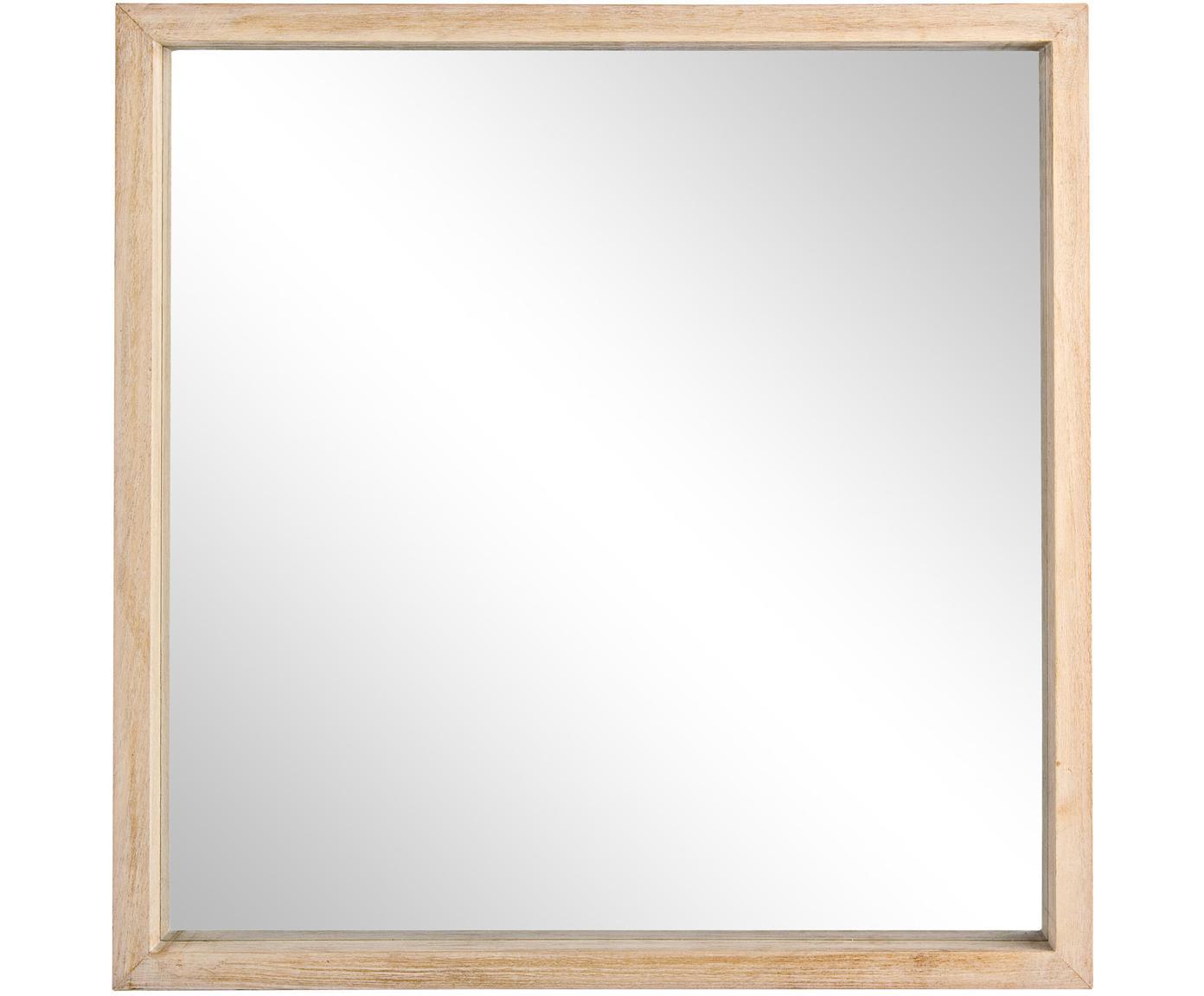 Wandspiegel Tiziano met houten lijst, Lijst: paulowniahout, Paulowniahoutkleurig, 52 x 52 cm