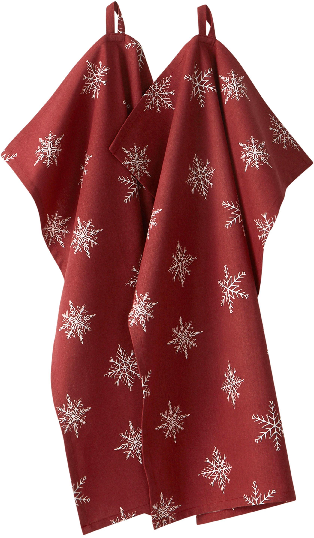 Theedoeken Snow, 2 stuks, 100% katoen, afkomstig van duurzame katoenteelt, Rood, wit, 50 x 70 cm