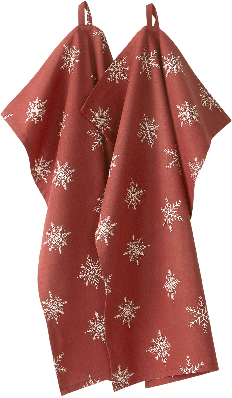 Ręcznik kuchenny Snow, 2 szt., 100% bawełna pochodząca ze zrównoważonych upraw, Czerwony, biały, S 50 x D 70 cm