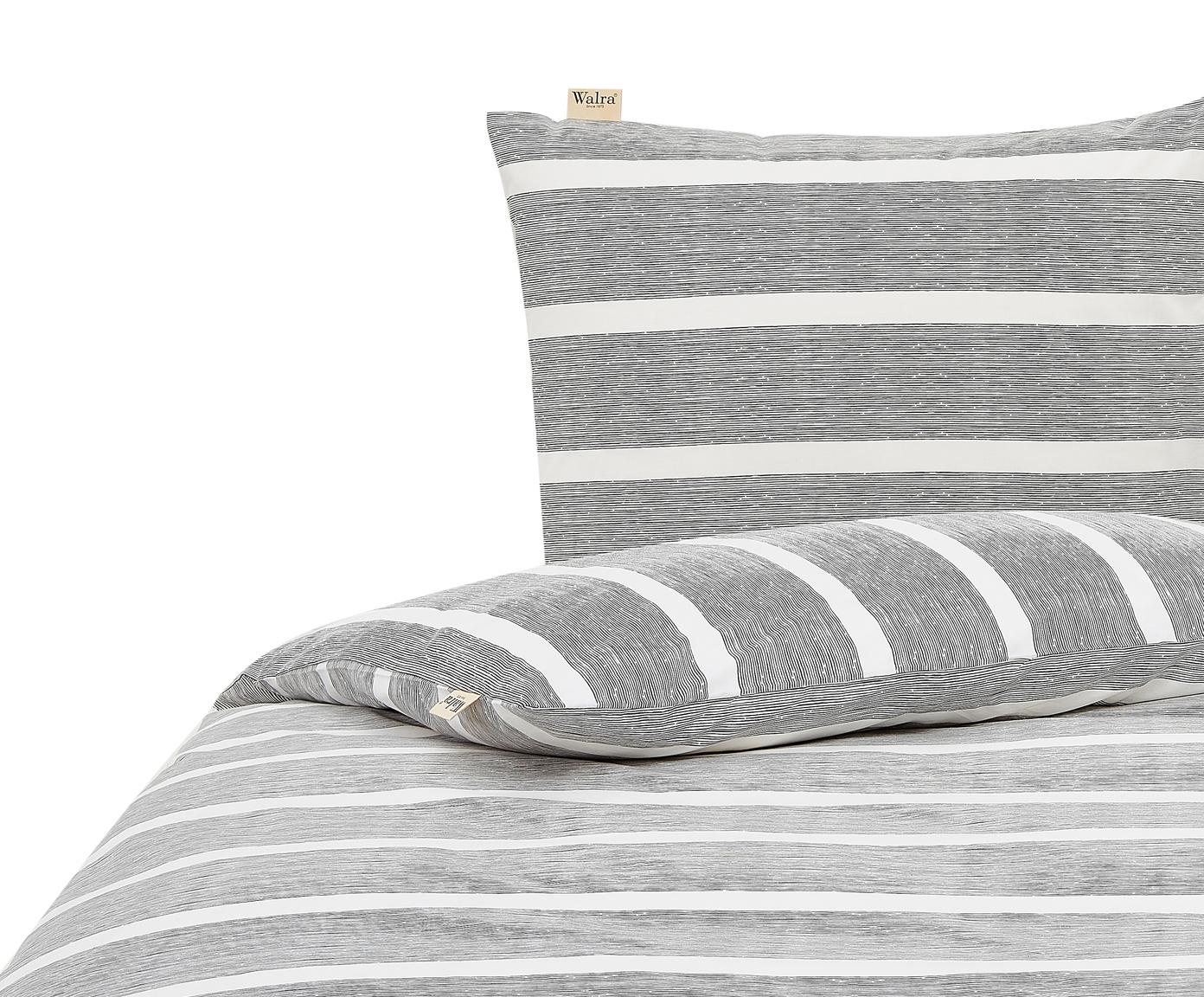 Dekbedovertrek Stripe Along, Katoen, Antraciet, wit, 140 x 220 cm