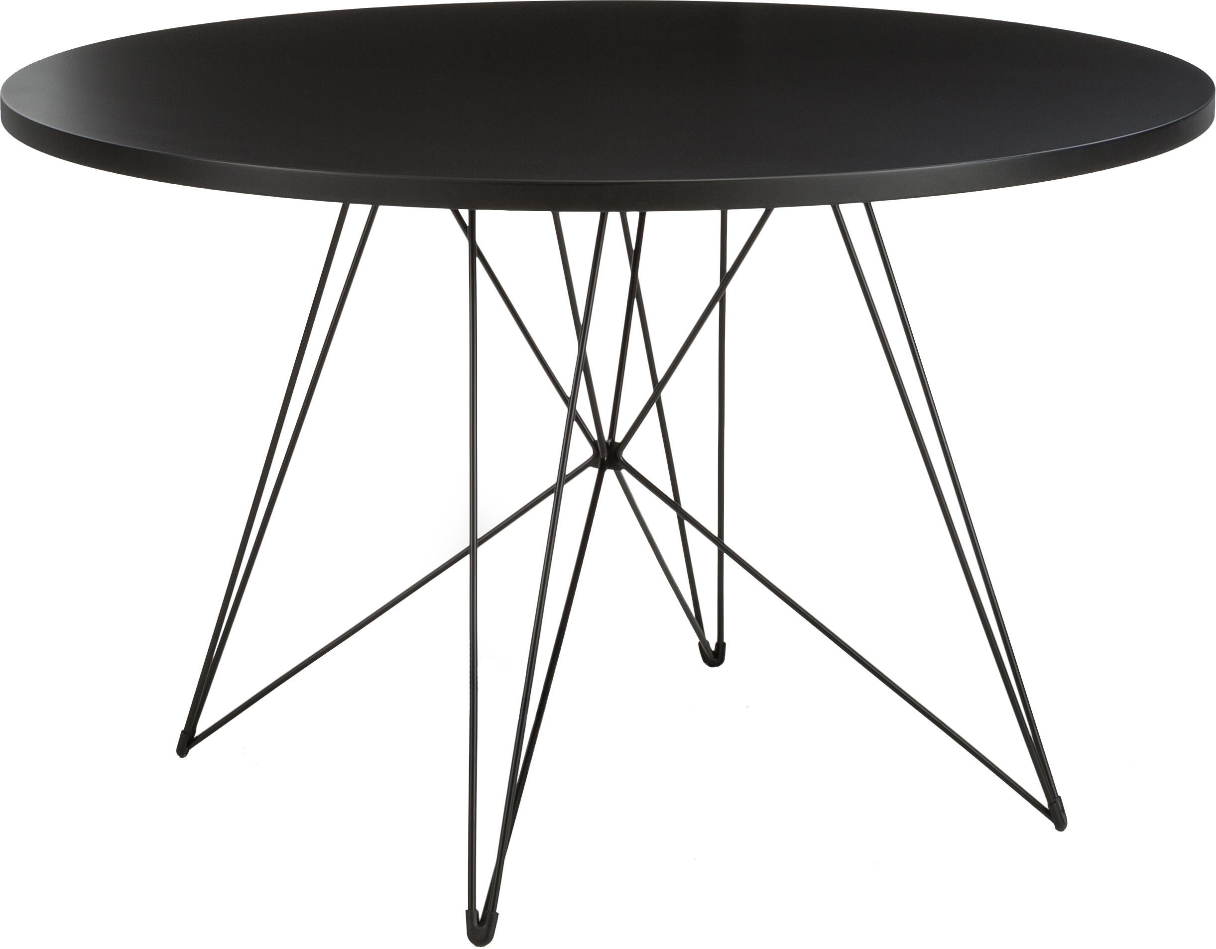 Runder Esstisch XZ3 mit Trestle Beinen, Tischplatte: Mitteldichte Holzfaserpla, Beine: Stahldraht, lackiert, Schwarz, Ø 120 x H 74 cm