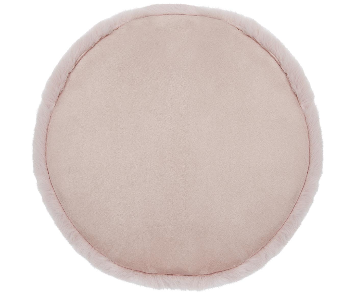 Galette de chaise en fourrure synthétique lisse Mette, Rose
