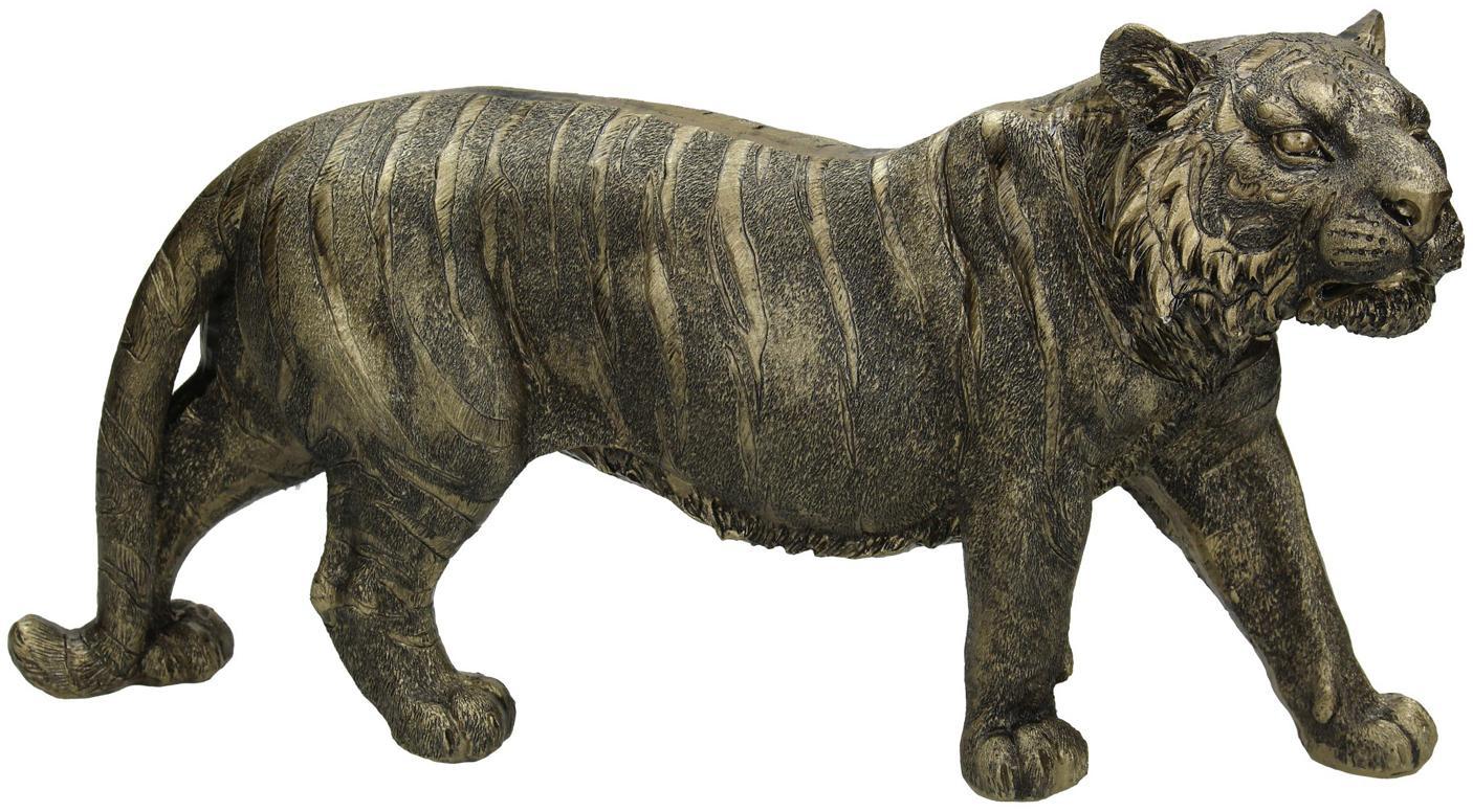 Deko-Objekt Tiger, Polyresin, Goldfarben, Schwarz, 33 x 18 cm