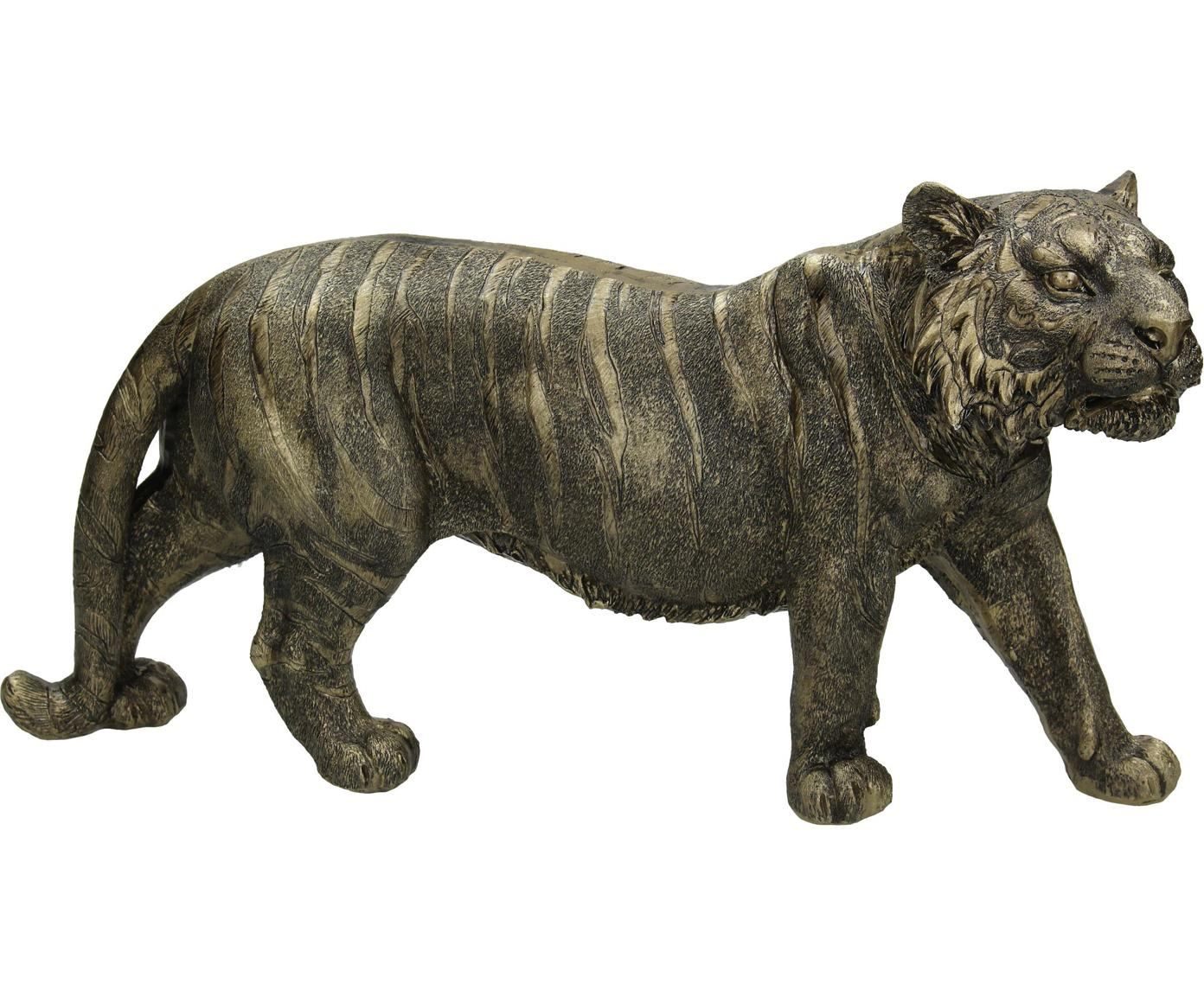 Oggetto decorativo Tiger, Poliresina, Dorato, nero, Larg. 33 x Alt. 18 cm
