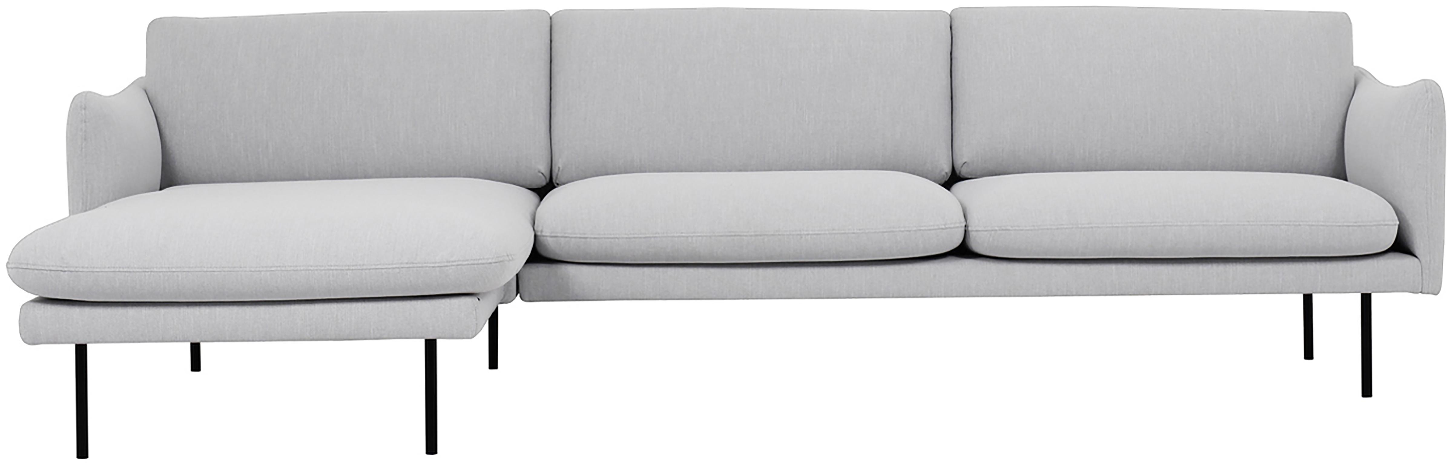Ecksofa Moby, Bezug: Polyester Der hochwertige, Gestell: Massives Kiefernholz, Webstoff Hellgrau, B 280 x T 160 cm