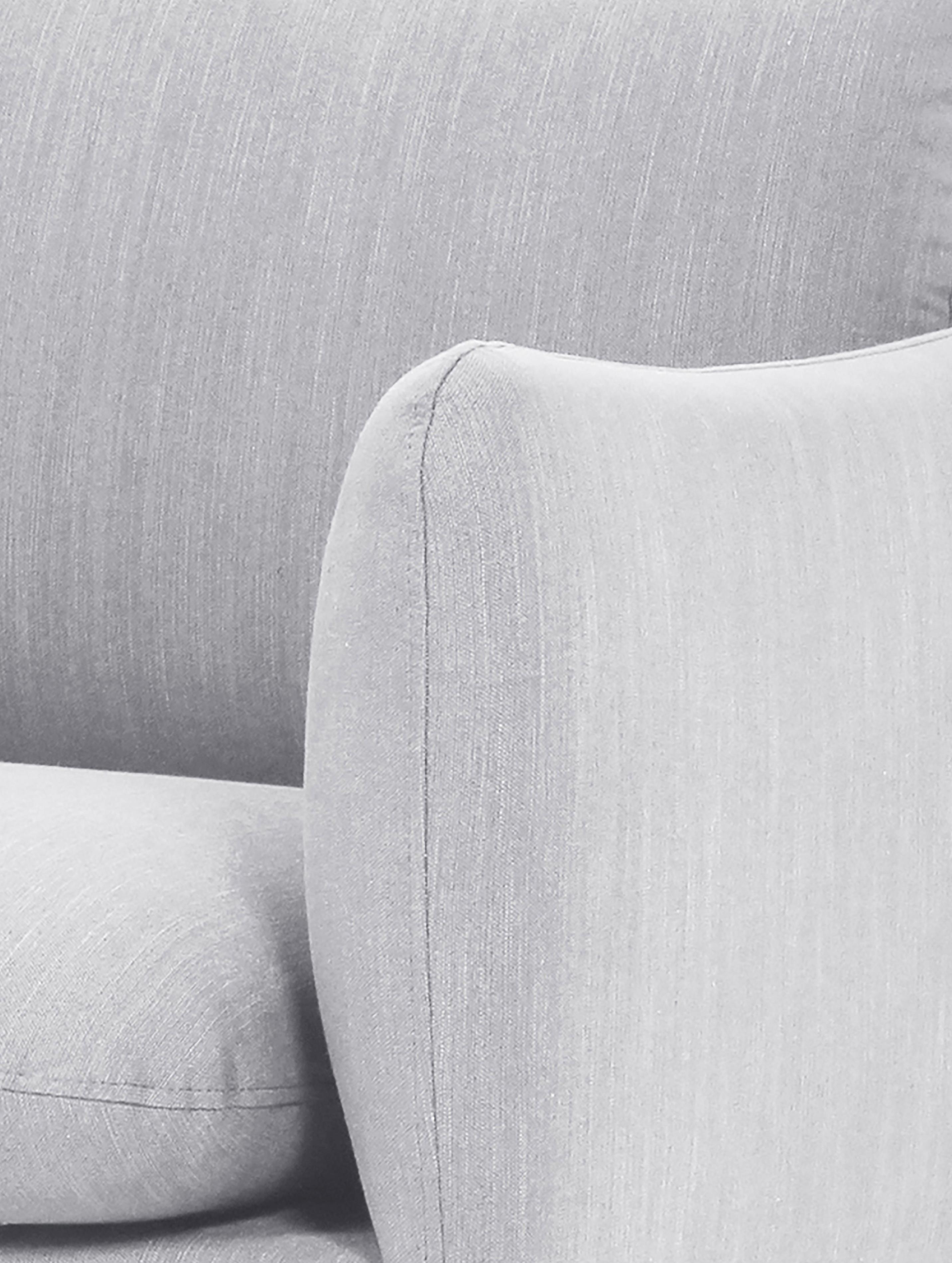 Sofa narożna Moby, Tapicerka: poliester 60000 cykli w , Stelaż: lite drewno sosnowe, Nogi: metal malowany proszkowo, Jasny szary, S 280 x G 160 cm