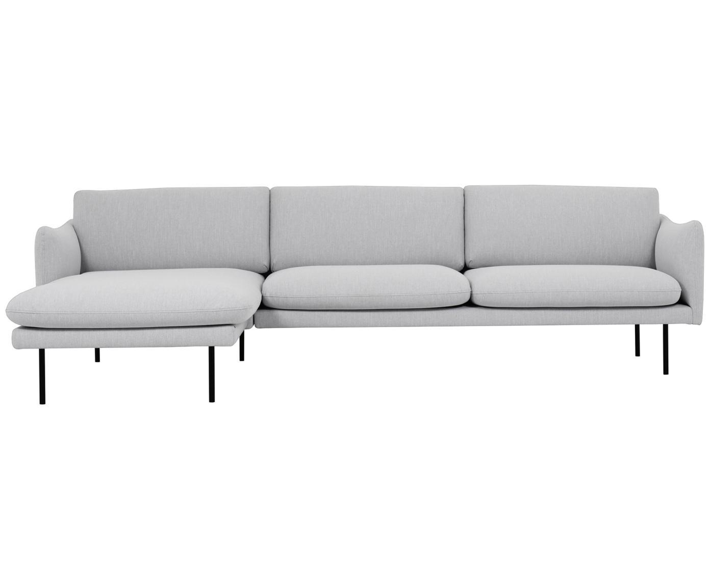 Ecksofa Moby, Bezug: Polyester 60.000 Scheuert, Gestell: Massives Kiefernholz, Webstoff Hellgrau, B 280 x T 160 cm