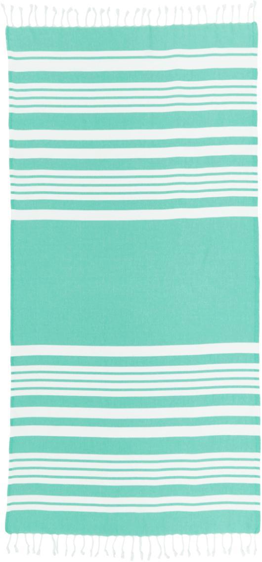 Telo mare a righe con frange Stripy, Cotone Qualità molto leggera 185 g/m², Turchese, bianco, Larg. 95 x Lung. 175 cm